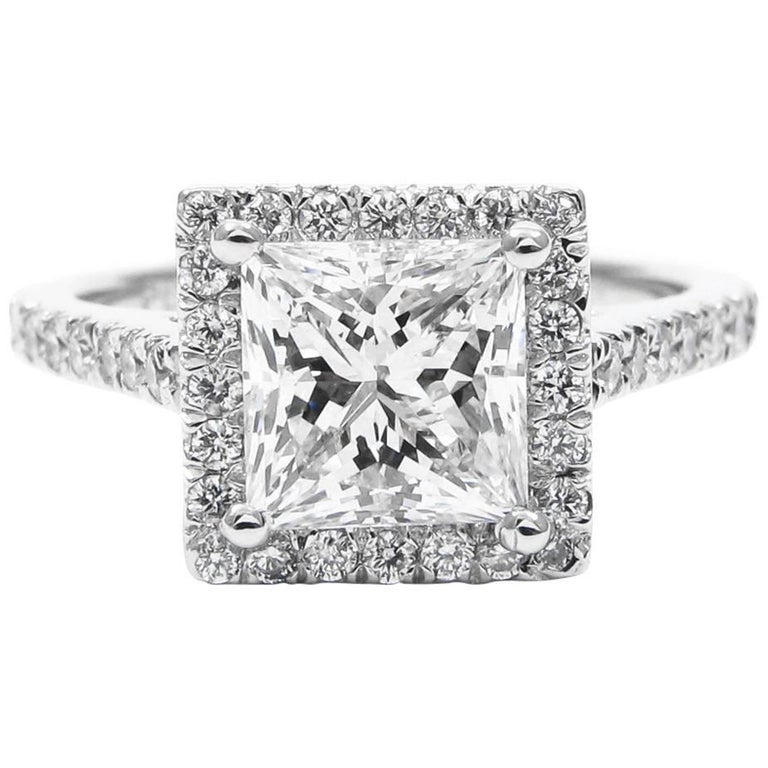 GIA Certified 1.50 Carat Princess Cut Diamond Platinum Halo Frame Pave Ring For Sale