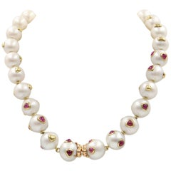 Be My Valentine South Sea Pearl, Ruby, 18K Gold Necklace