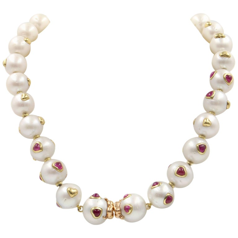 South Sea Pearl, Ruby, 18 Karat Gold Necklace