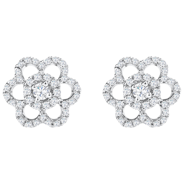 Roman Malakov, Round Diamond Cluster Flower Stud Earrings