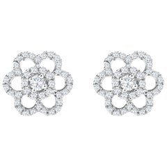 Round Diamond Cluster Flower Stud Earrings