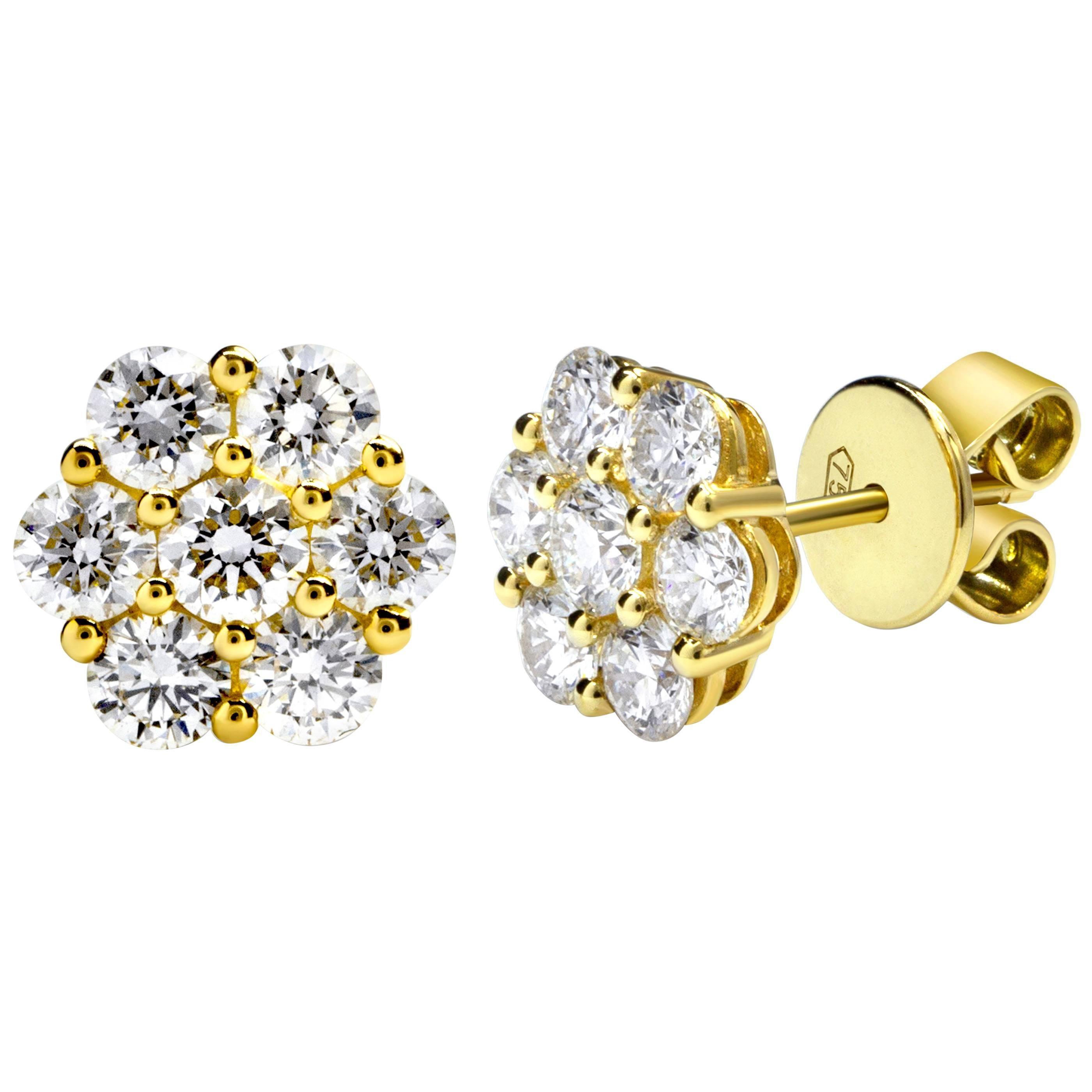 Round Diamond Cluster Flower Stud Earrings