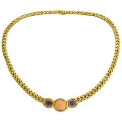Bulgari Coral Amethyst Yellow Gold Link Chain Necklace Bvlgari, 1980s