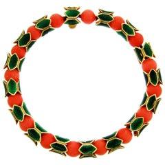 Cartier Coral Bead Enamel Yellow Gold Bracelet
