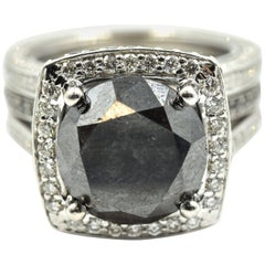 6.00 Carat Round Brilliant Black Diamond with Diamond Mounting Engagement Ring
