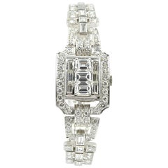 Hamilton Platinum Round and Baguette Diamond Vintage manual Wristwatch