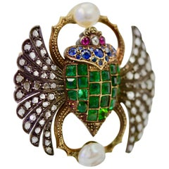 Antique French Diamond Emerald Sapphire Pearl Scarab Brooch