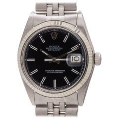 Rolex white gold Datejust Black Pie Pan Dial self winding wristwatch, c1977