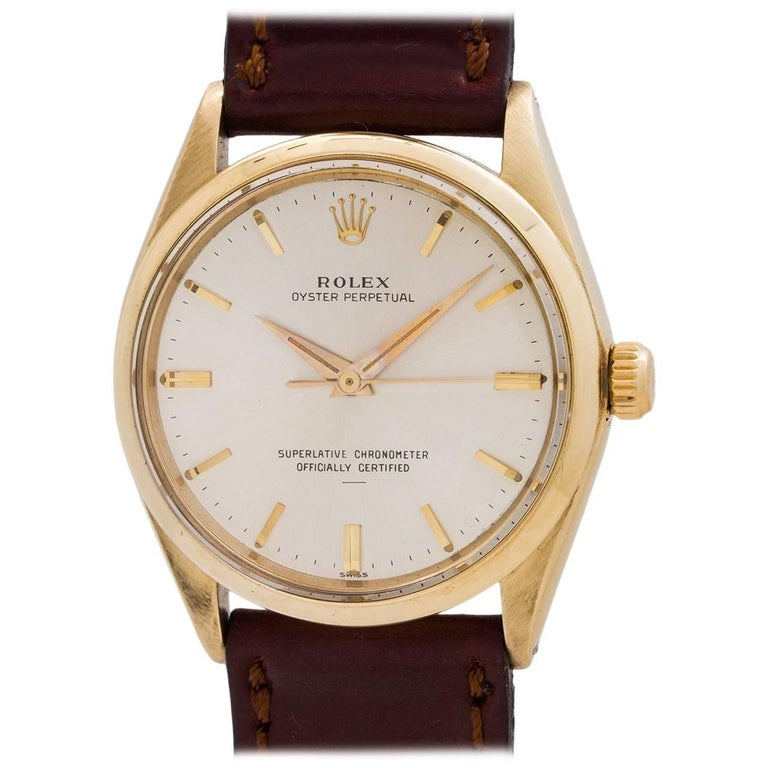 """Rolex yellow gold Oyster Perpetual """"Underline"""" Dial self winding wristwatch"""