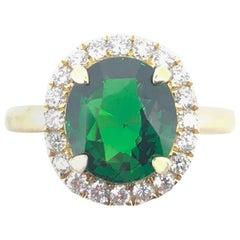 3.02 Carat Tsavorite Garnet Cluster Diamond Ring