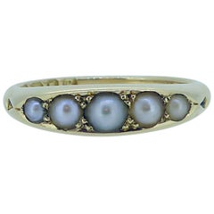 Victorian Pearl Ring Set in 18 Carat Yellow Gold, Hallmarked London, 1892