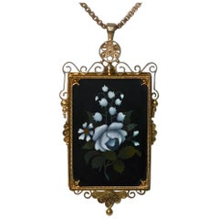 Antique Gold Pietra Dura Pendant Brooch, Italy, circa 1875