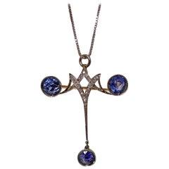 Edwardian Sapphire Diamond Platinum Pendant Brooch