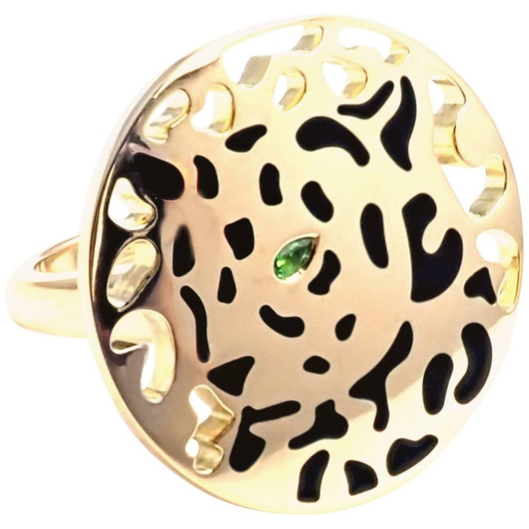 Cartier Panther Panthere Lacquer Tsavorite Garnet Yellow Gold Ring