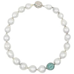 The Spectacular Necklace with South Sea Pearls, Paraiba Tourmalines, Diamonds