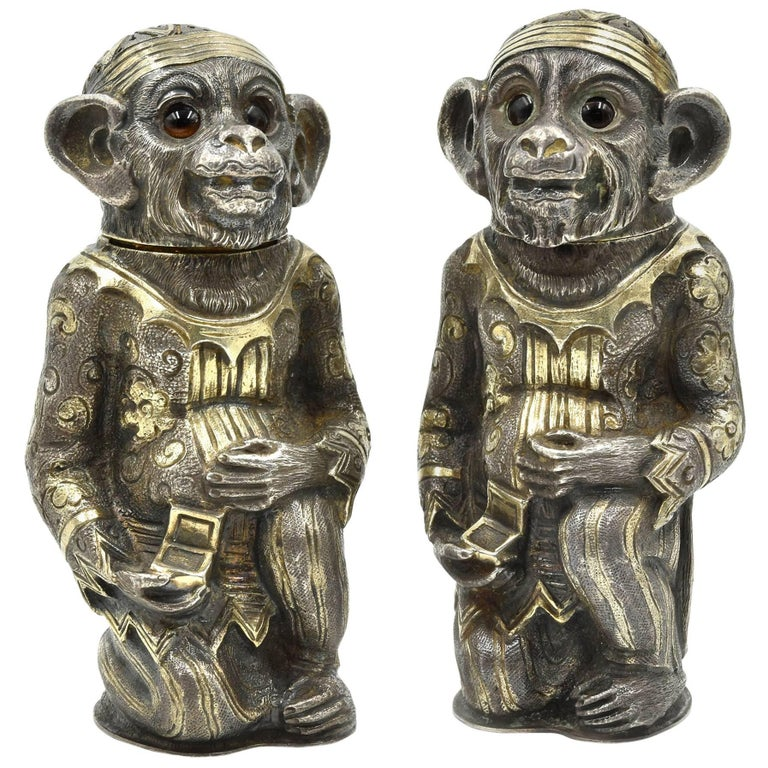 Antique Sterling Silver Monkey Shakers in Gilded Asian Costume by Edward Charles