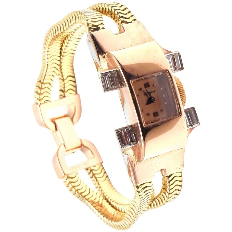 Gubelin Ladies Yellow and Rose Gold Diamond Vintage Mechanical Wristwatch