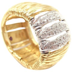Roberto Coin Elephant Skin Domed Diamond Yellow Gold Band Ring