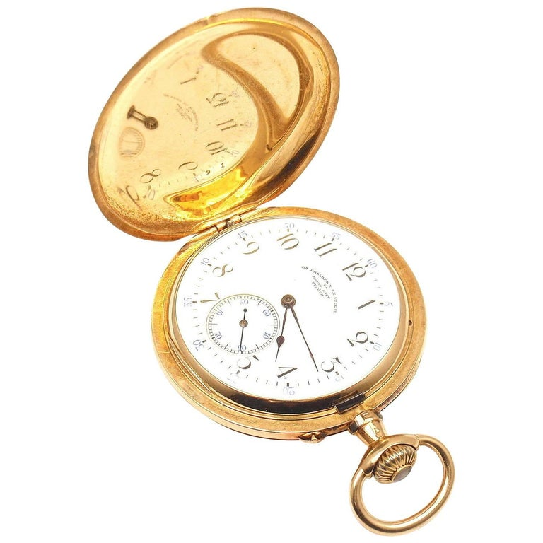 Henry Capt Yellow Gold Chronoautomatic Full Hunter Pocket Watch For Sale