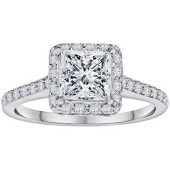 GIA Certified Princess Cut Diamond Halo Engagement Ring