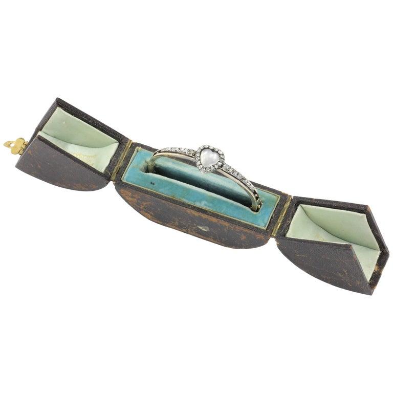 Rare Victorian Gold Moonstone Heart and Rose Cut Diamond Bracelet