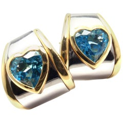 Marina B Heart Shape Blue Topaz Yellow Gold and Stainless Steel Earrings