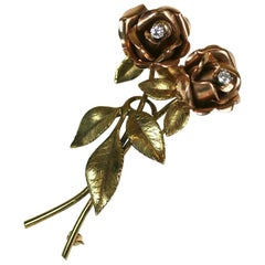Two-Tone Rose Spray Brooch