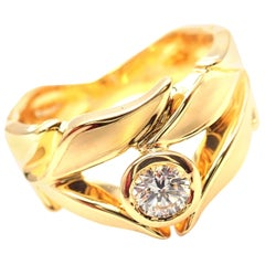 Carrera Y Carrera Mi Princes Greco Roman Diamond Crown Yellow Gold Band Ring