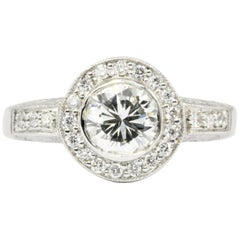 White Gold 1.26 Carat Diamond Halo Engagement Ring