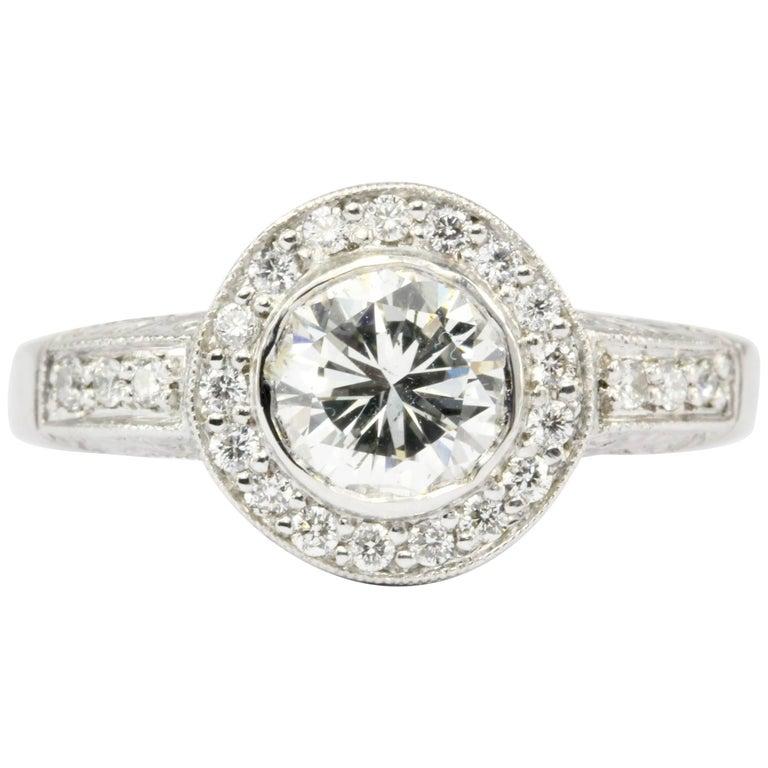 White Gold 1.26 Carat Diamond Halo Engagement Ring