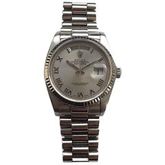 Rolex 18K White Gold Day-Date President Automatic Watch , 1980s