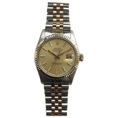 Rolex Steel and Gold Oyster Perpetual Datejust Watch with Box and Papers, 1980s