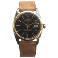Rolex Steel and Gold Tropical Dial Datejust Automatic Watch, 1960s