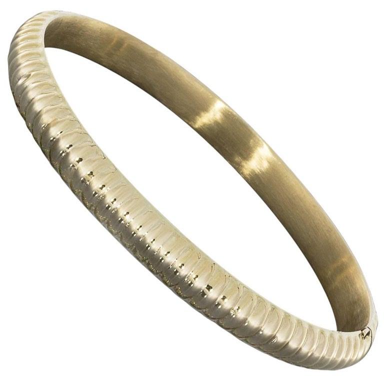 14 Karat Yellow Gold Ridge Domed Bangle Bracelet