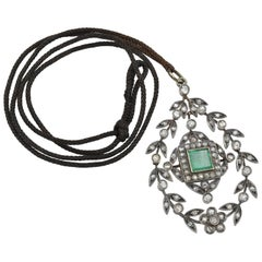 Large Trembleuse Pendant with Square Emerald and Old Mine Cut Diamonds in Silver