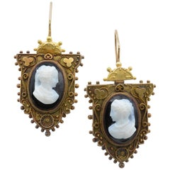 Antique Cameo Earrings in Rose Gold with Intricate Detail