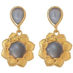 Emma Chapman Black Moonstone Gold Plate Earrings