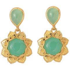 Emma Chapman Chrysoprase Gold Plate Earrings