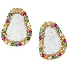Manpriya B Slice Diamond Ruby, Coloured Sapphire & Tsavorite Diva Stud Earrings