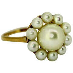 Vintage Mikimoto 14 Karat Yellow Gold Ladies Ring With Freshwater Pearls, 1970s