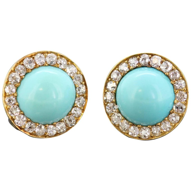 Vintage 9 Karat Gold Ladies Earrings with Turquoise and Diamonds, circa 1970s