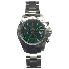 Tudor Stainless Steel Tiger Prince Date Green Chronograph Automatic Wristwatch