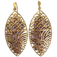 Lauren Harper Amethyst Yellow Gold Marquis Statement Earrings