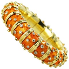 Schlumberger for Tiffany & Co. Orange Paillonne Enamel and Diamond Bangle