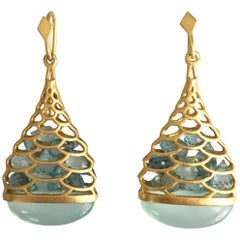 Lauren Harper Aquamarine Chalcedony Gold Drop Earrings