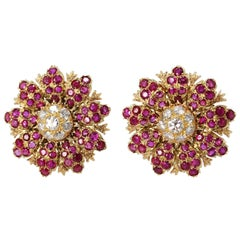 1940s Buccellati Ruby, Diamond and Gold Flower Earclips