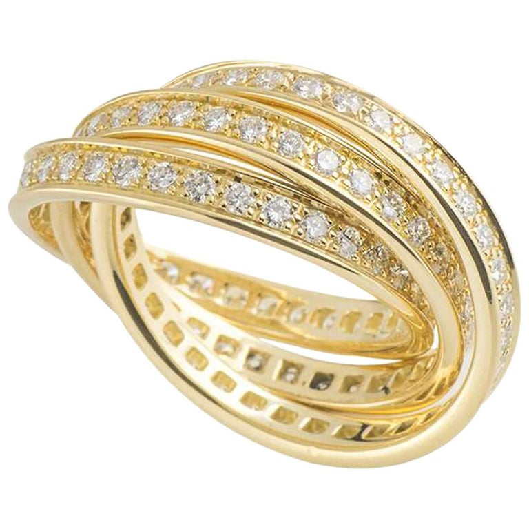 Cartier Yellow Gold Diamond Trinity Ring