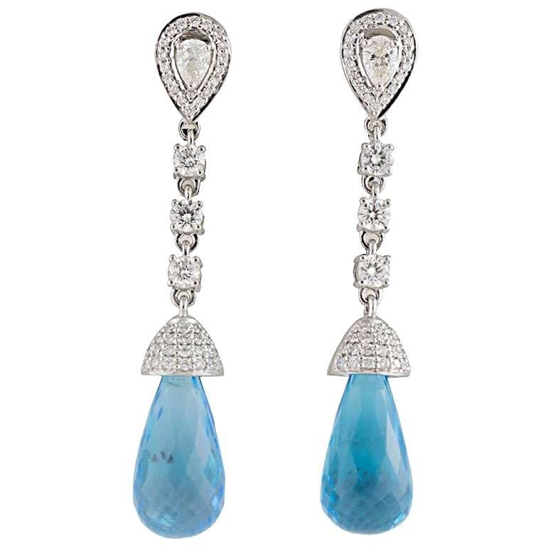Diamond and Topaz Drop Earrings