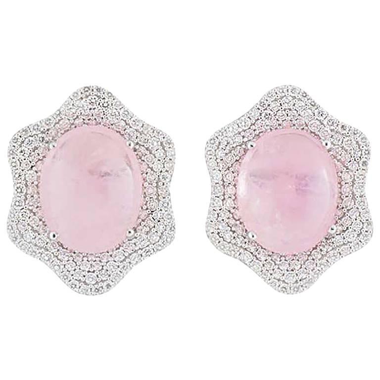 Diamond and Kunzite Earrings