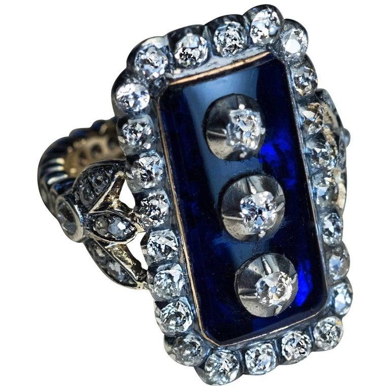 Antique Georgian Era Blue Glass Diamond Unisex Ring For Sale